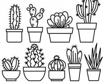 340x270 Dazzling Design Cactus Outline Outlines Etsy Tattoo Drawing Tumblr