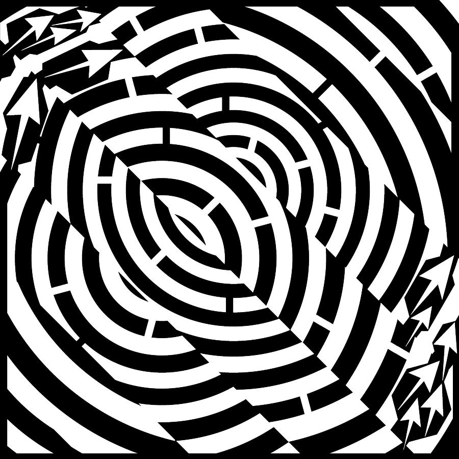 900x900 Double Diagonal Tunnel Maze Drawing By Yonatan Frimer Maze Artist