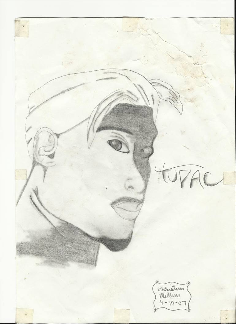 770x1059 Saatchi Art Tupac Shakur Drawing By Christina Million