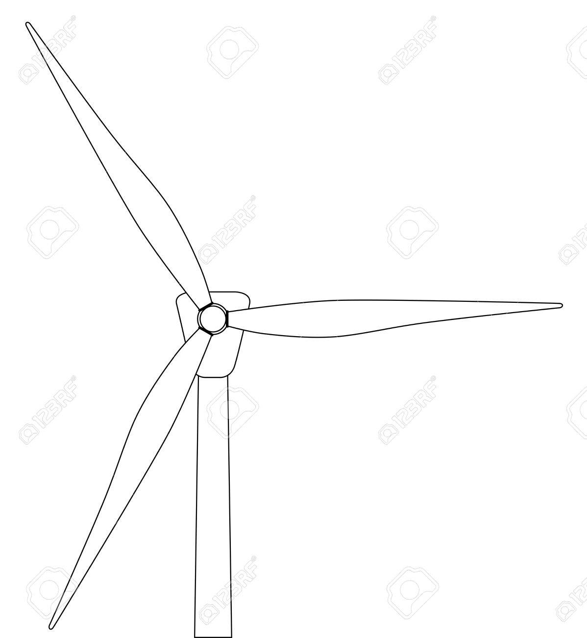 1198x1300 Black And White Line Drawing Of A Typical Wind Turbine Royalty