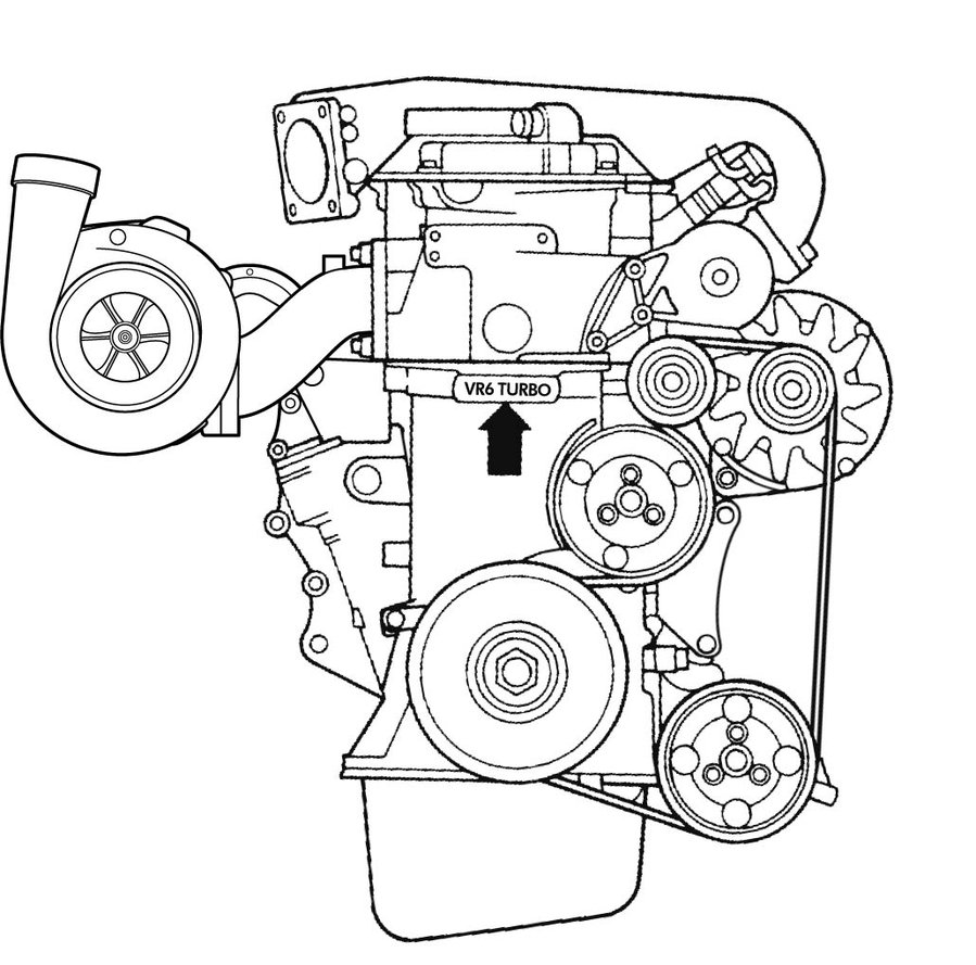 899x889 Vr6 Turbo Line Drawing By Flatlandersj