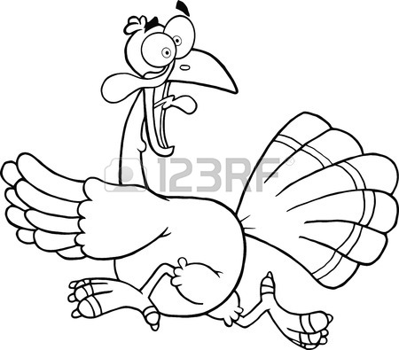 450x395 Black And White Turkey Escape Cartoon Mascot Character Royalty