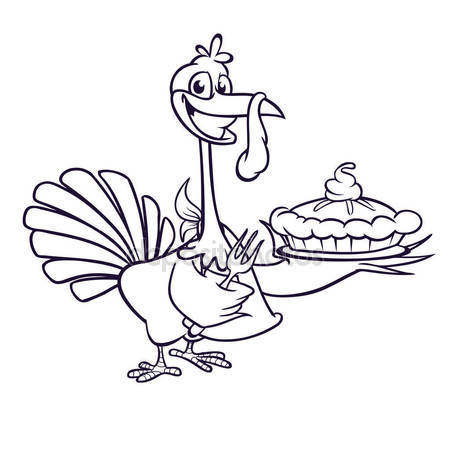 450x450 Thanksgiving Cartoon Turkey Holding Fork And Pie Isolated. Vector