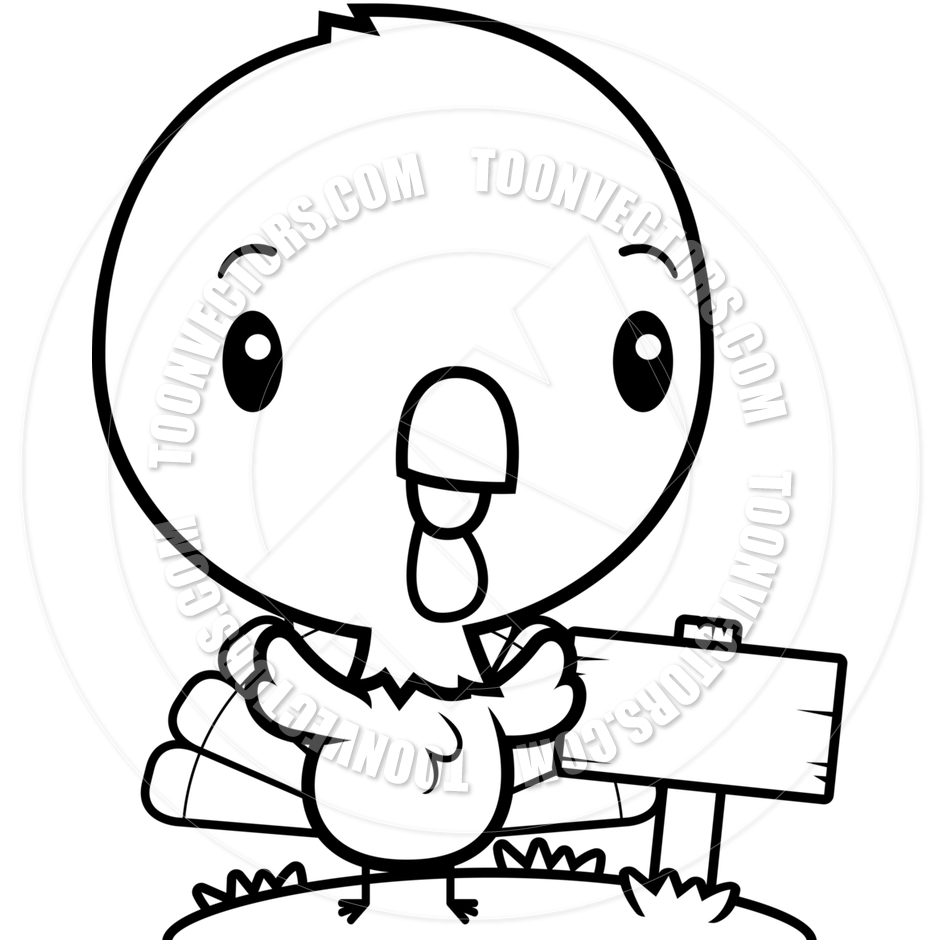 940x940 Cartoon Baby Turkey Wood Sign (Black And White Line Art) By Cory