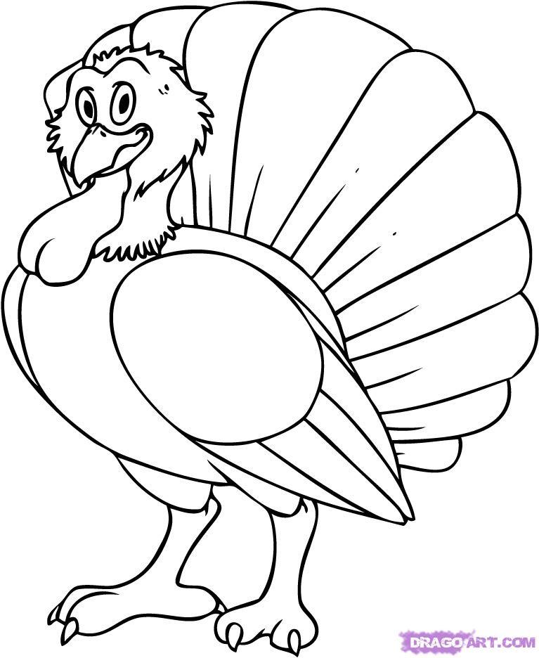 767x936 Turkey Drawing How To Draw A Cartoon Turkey Step By Animals