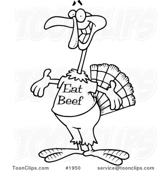 581x600 Cartoon Blackd White Line Drawing Of A Turkey Bird Wearing