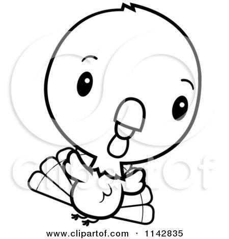 450x470 Cartoon Clipart Of A Black And White Cute Baby Turkey Bird Running