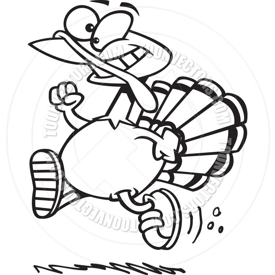 940x940 Cartoon Turkey Trot (Black Amp White Line Art) By Ron Leishman
