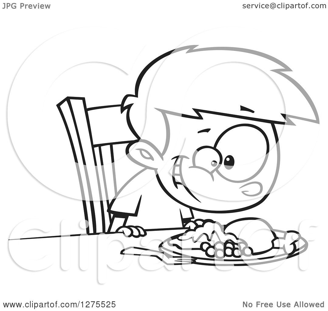 1080x1024 Cartoon Clipart Of A Black And White Happy Boy Smiling Down