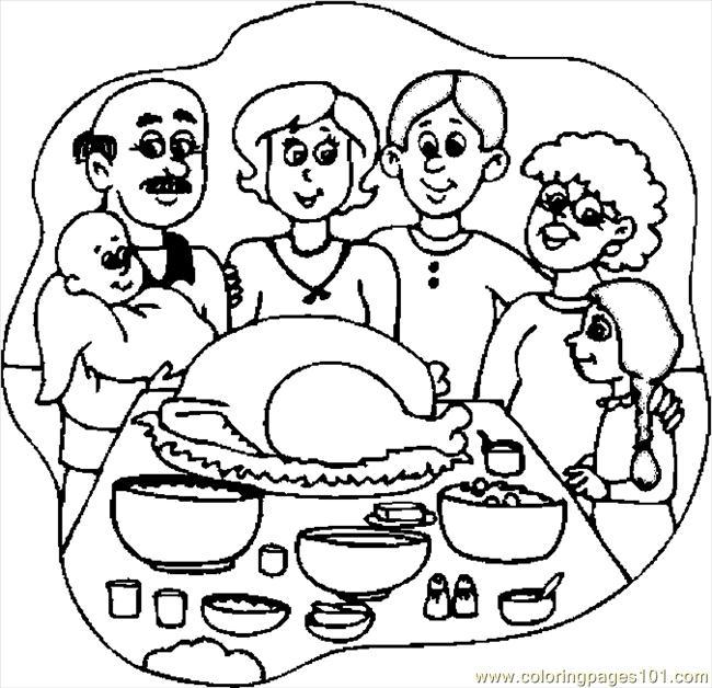 650x628 Thanksgiving Dinner 3 Coloring Page