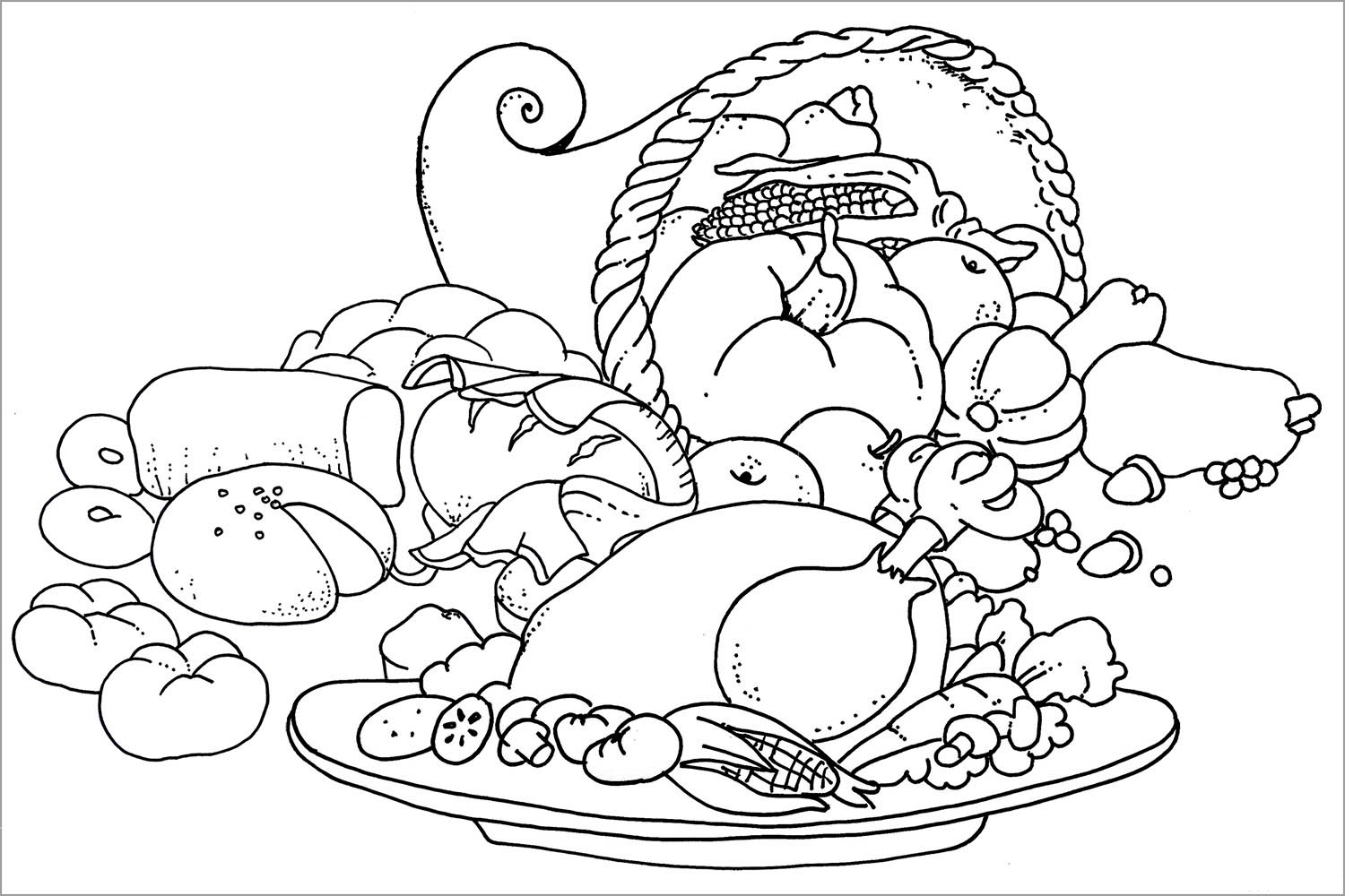 1500x1000 Thanksgiving Feast Coloring Pages Thanksgiving Feast Coloring