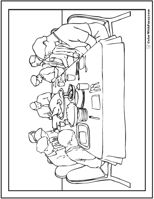 590x762 Christmas Or Thanksgiving Dinner Printable Coloring