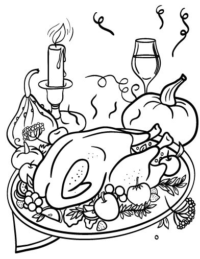 392x507 Thanksgiving Turkey Dinner Coloring Pages Printable For Beatiful