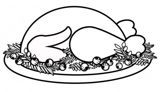 520x299 Cooked Turkey Dinner Coloring Page Carrot Coloring Page