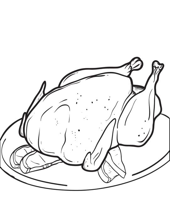 542x700 Free Printable Cooked Thanksgiving Turkey Coloring Page For Kids