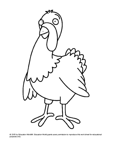 480x621 Turkey Drawing Template Free Download