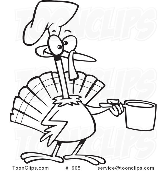 581x600 Cartoon Black And White Line Drawing Of A Chef Turkey Bird Holding