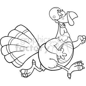300x300 Royalty Free Black And White Football Turkey Bird Cartoon