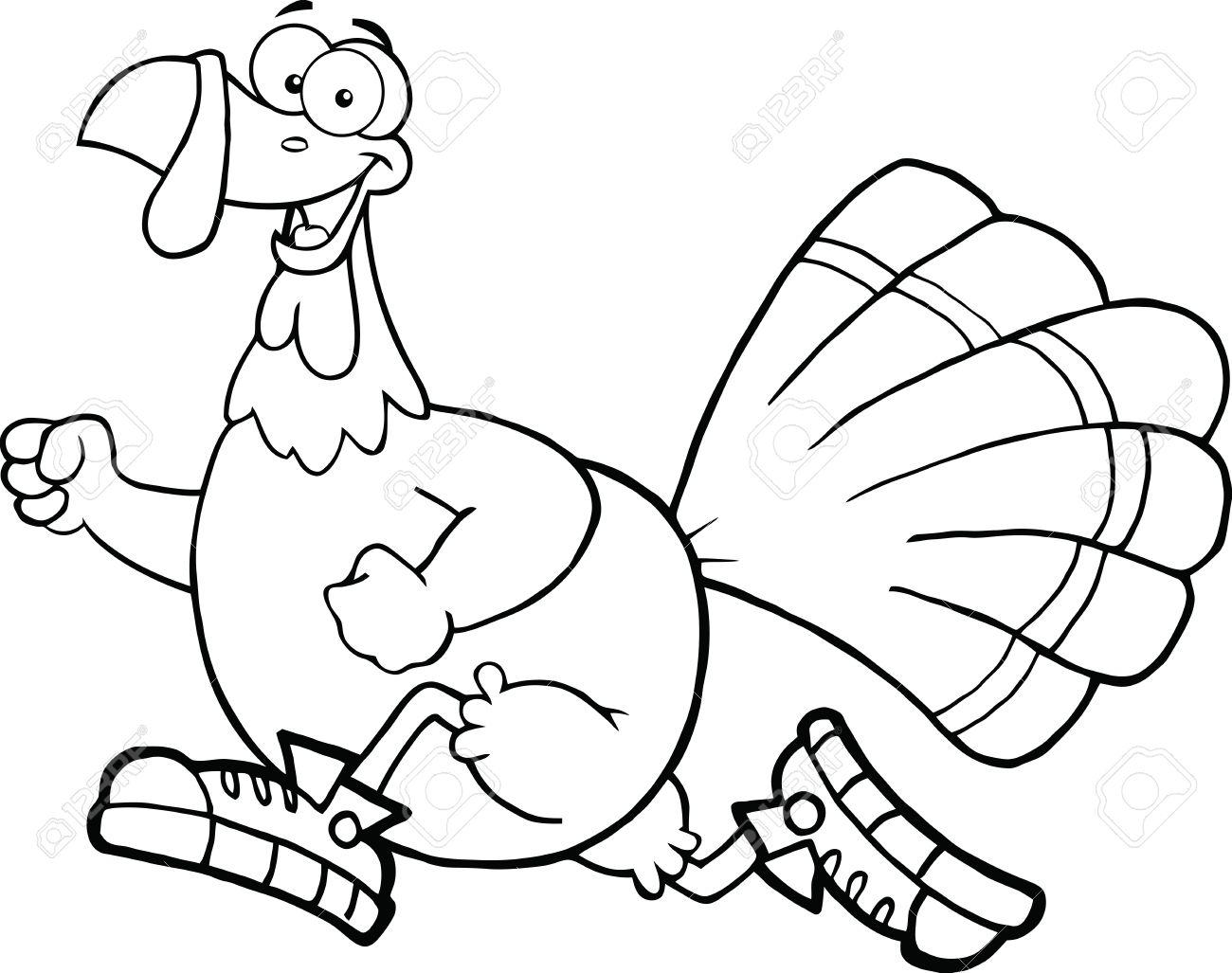 1300x1027 Black And White Happy Turkey Bird Cartoon Character Jogging