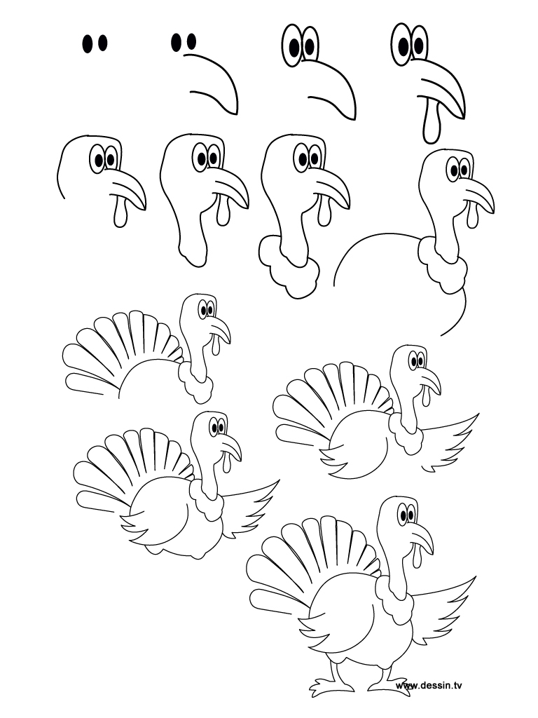 768x1024 How To Draw Turkey For Kids Easy Turkey Drawing How To Draw