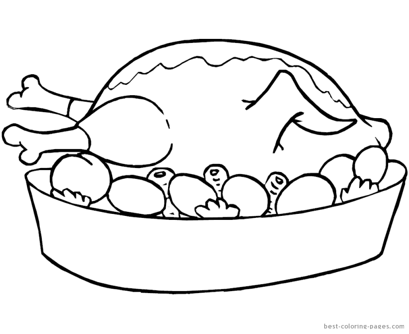 820x670 Thanksgiving Turkey Dinner Coloring Pages