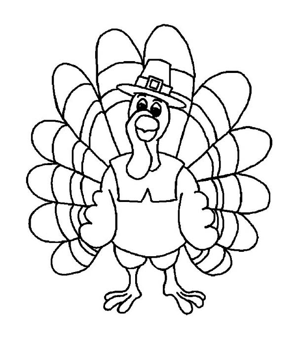 600x686 Friendly Thanksgiving Day Turkey With Pilgrim Hat Coloring Page