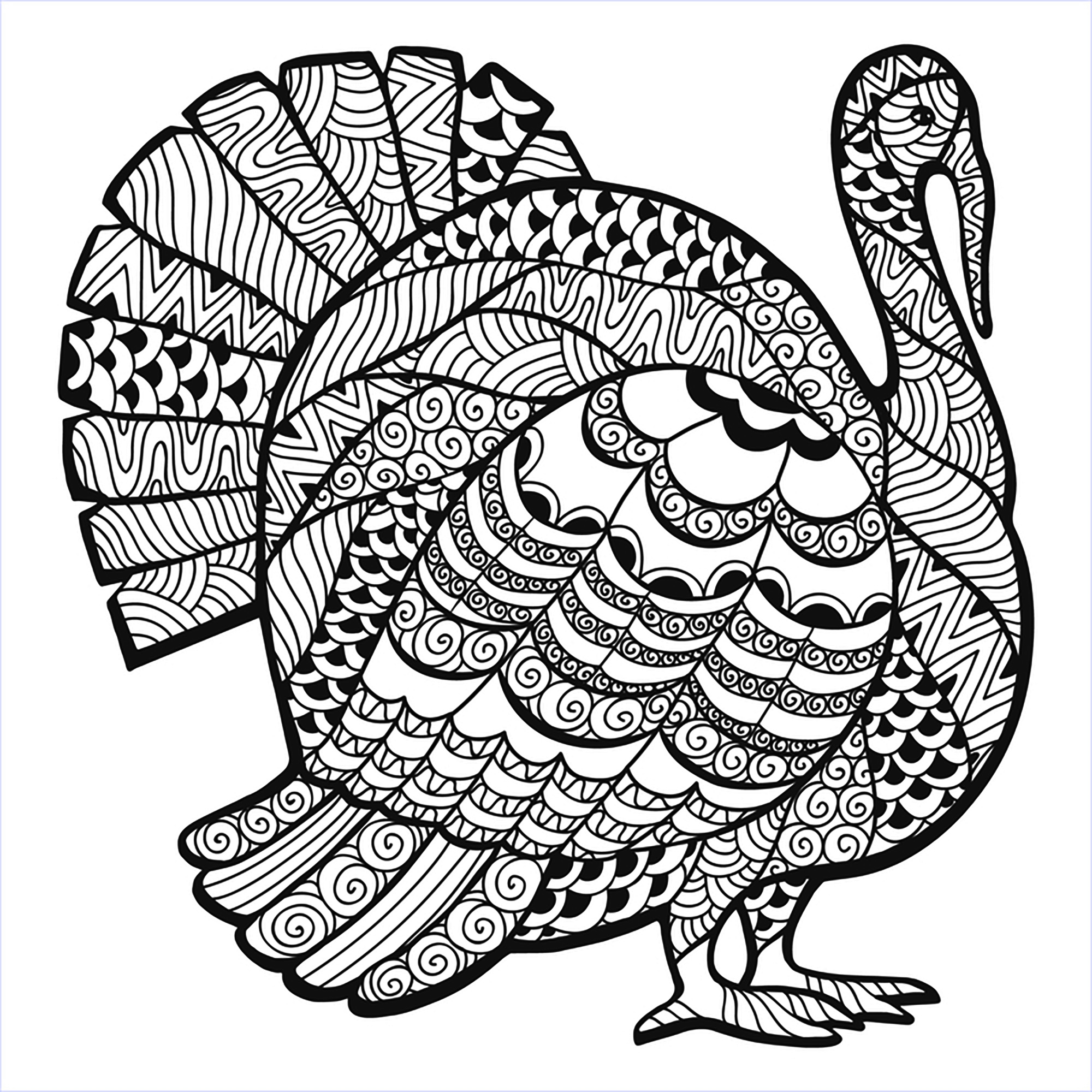 Coloring Page Free Printable 2000x2000 Thanksgiving Zentangle Turkey By Elena Medvedeva
