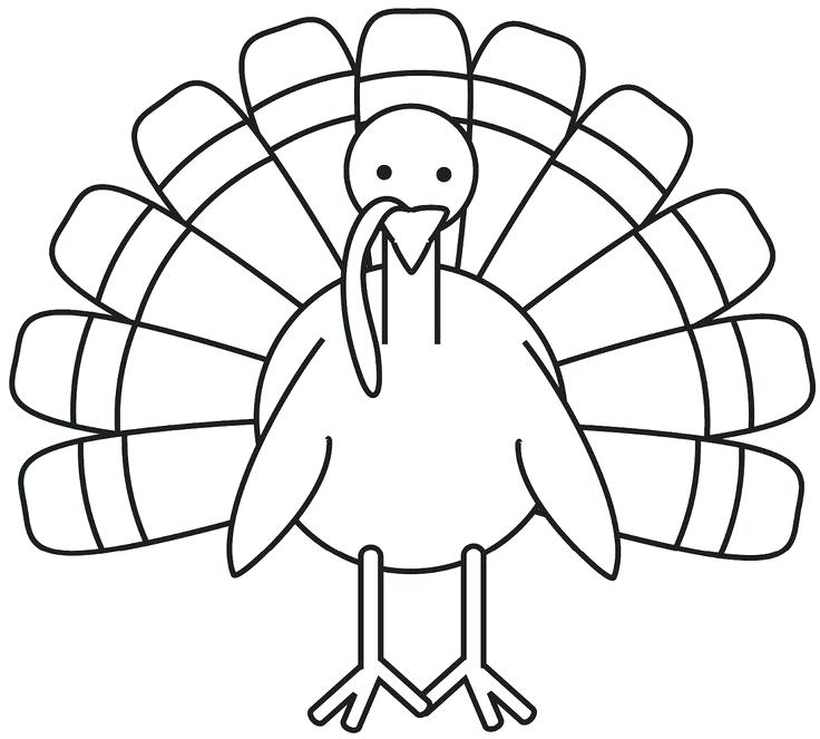 736x663 Printable Turkey Coloring Pages Easy To Color Thanksgiving Turkey