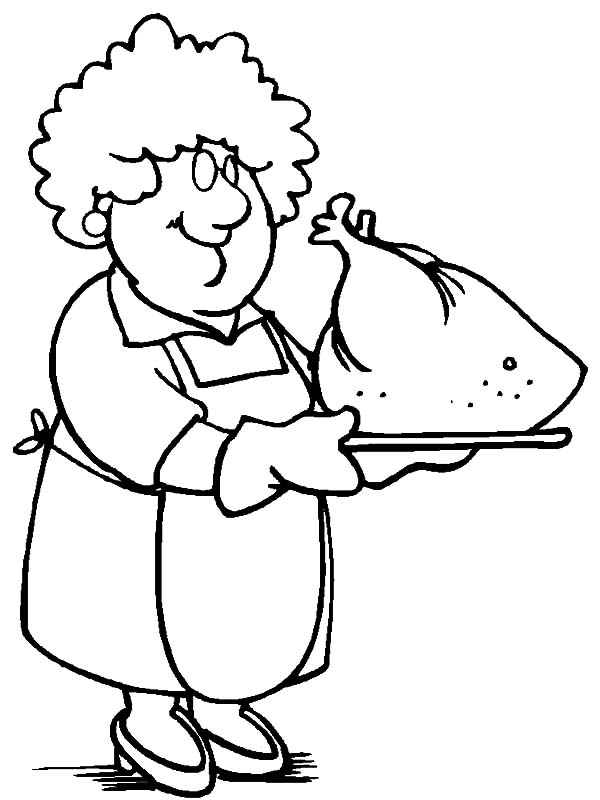 600x800 Grandmother Cooking Turkey Coloring Pages Color Luna