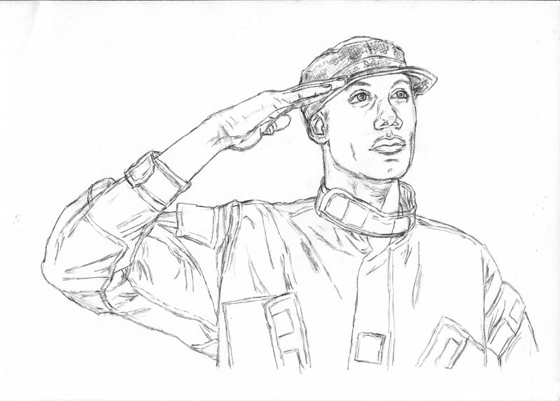 800x573 How To Draw An Army Man Saluting Let's Draw People