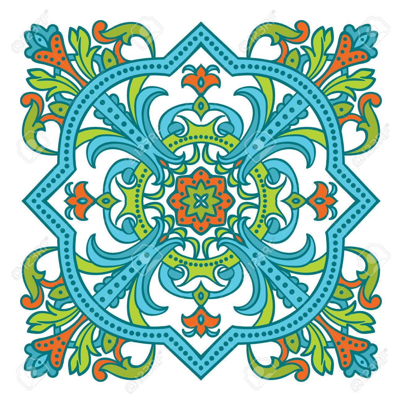 1300x1300 Hand Drawing Zentangle Color Element. Italian Majolica Style