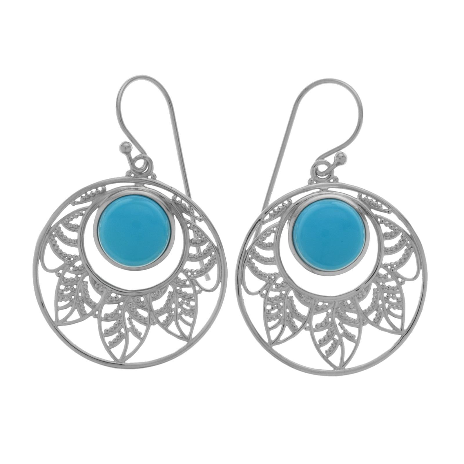 1600x1600 Sterling Silver 1.5 Sonora Beauty Turquoise Leaf Drop Earrings
