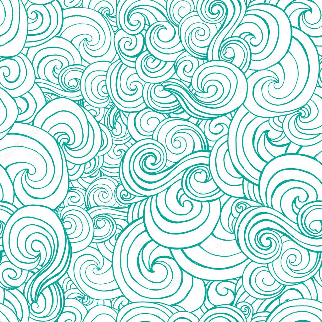 1024x1024 Turquoise Waves In Sketch Style Stock Vector Ilonitta