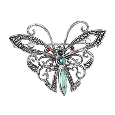 395x395 Colourful Butterfly Sterling Silver Marcasite Brooch With Inlay