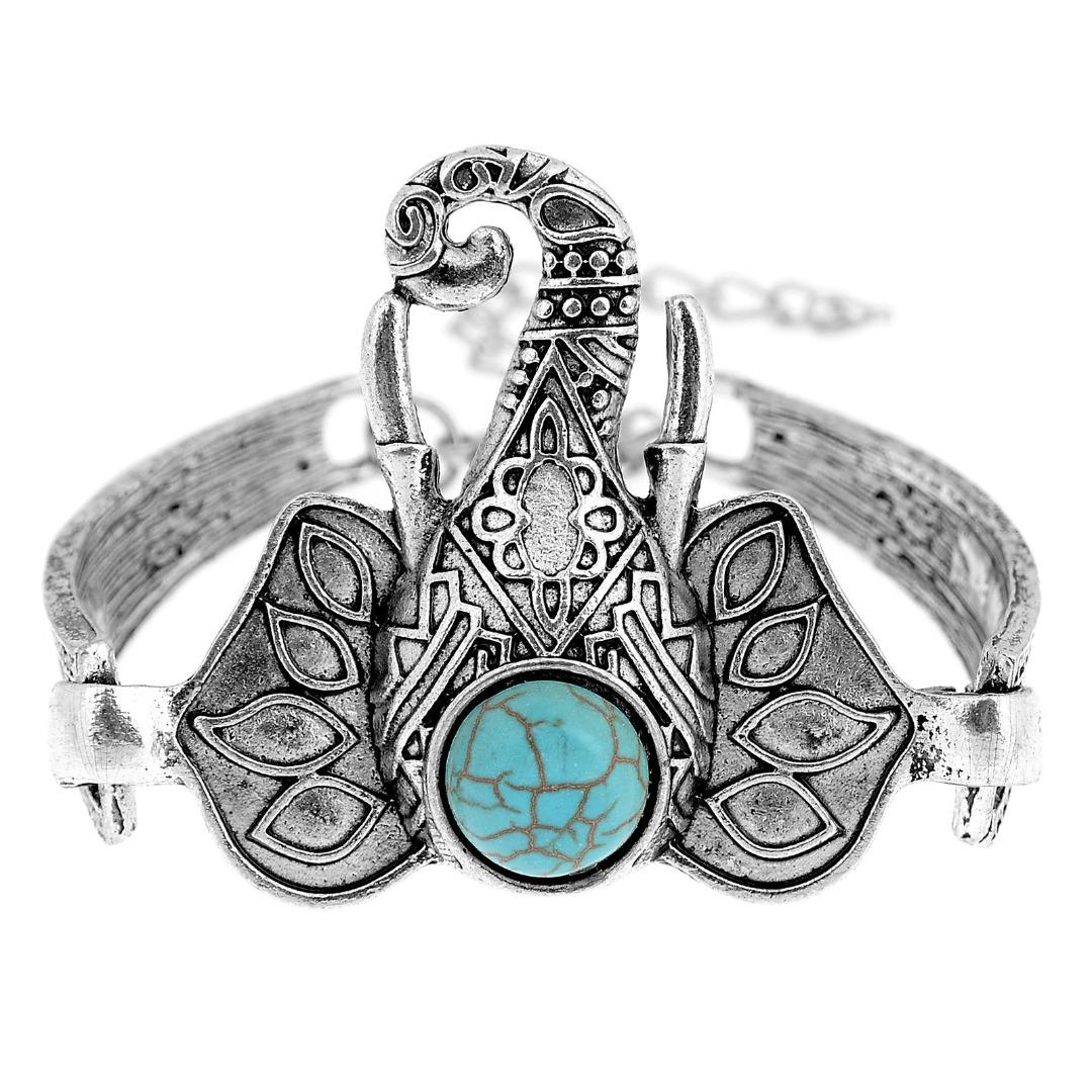 1080x1080 Ethnic Open Bangle Silver Cuff Bracelet Boho Faux Turquoise