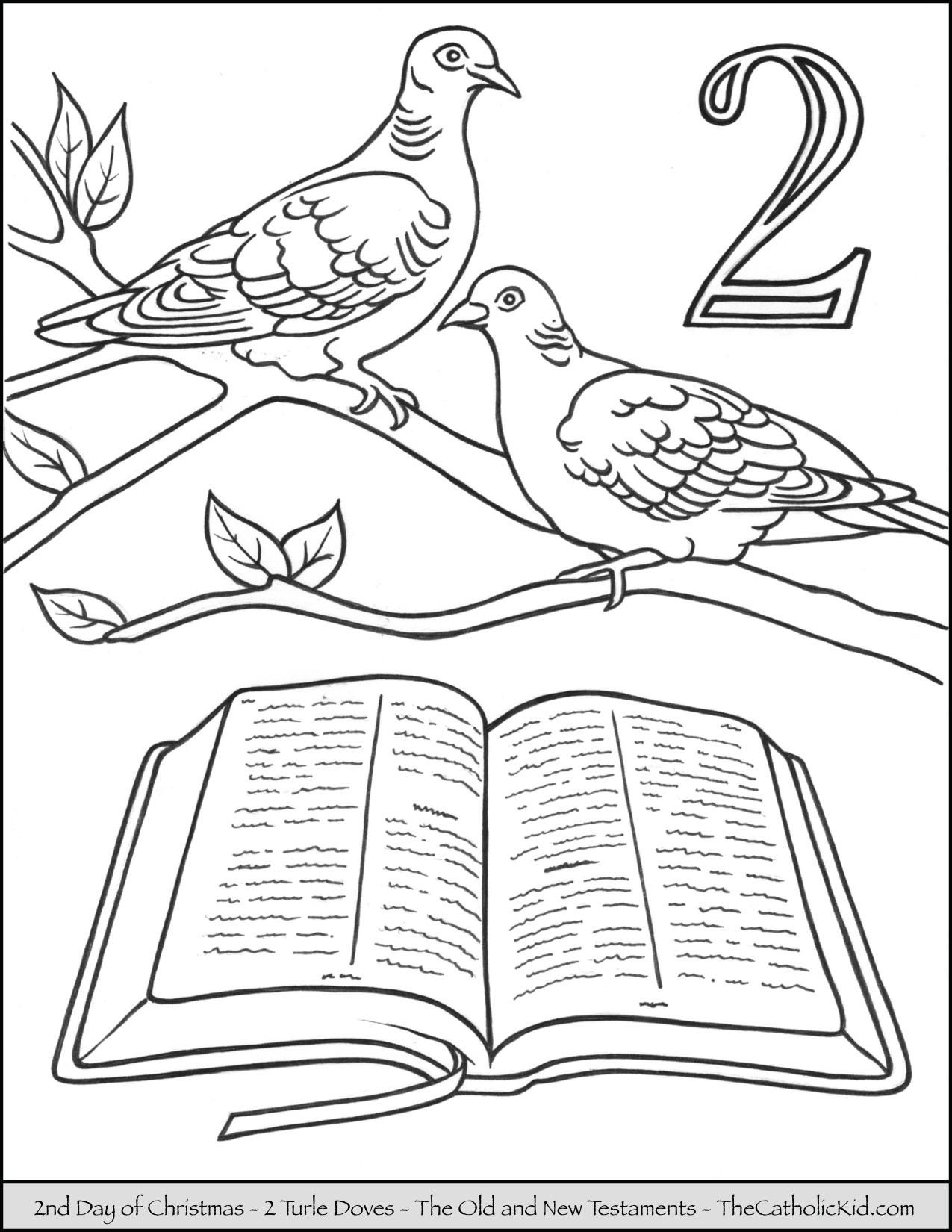 1275x1650 Second Day Of Christmas Two Turtle Doves Coloring Page