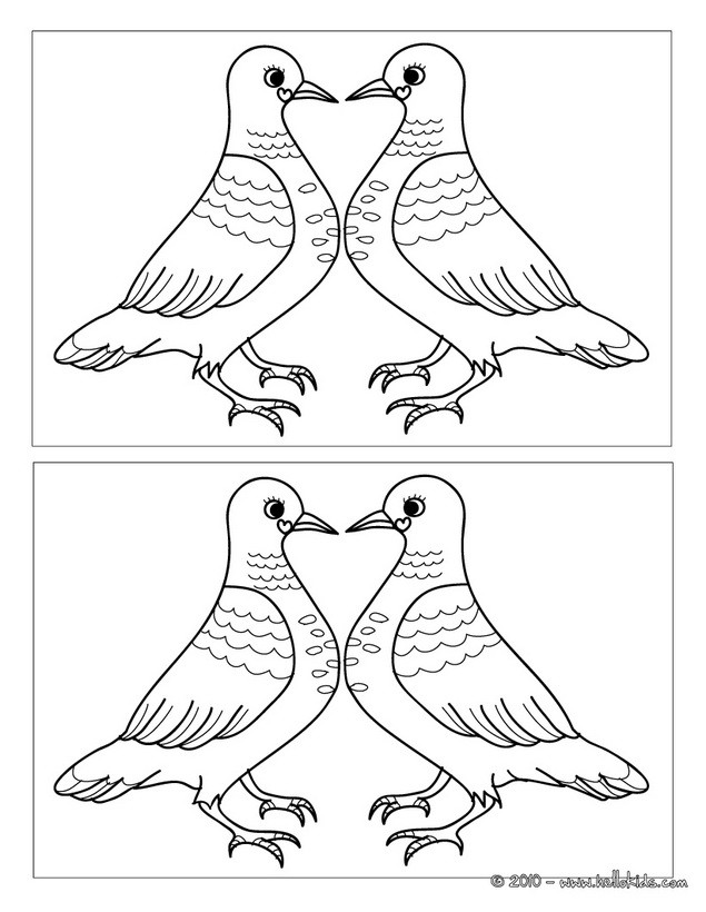635x820 Turtle Dove Coloring Page Find The Differences Online Games Heart