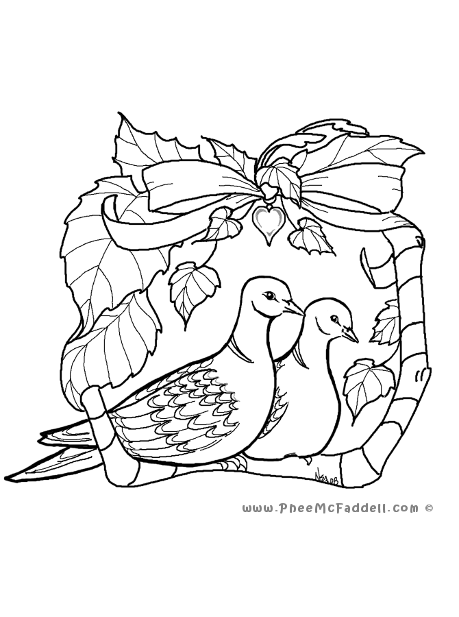 670x900 Two Turtle Doves Coloring Page