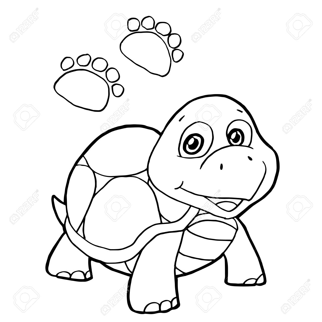 1300x1300 Paw Print With Turtle Coloring Pages Vector Royalty Free Cliparts