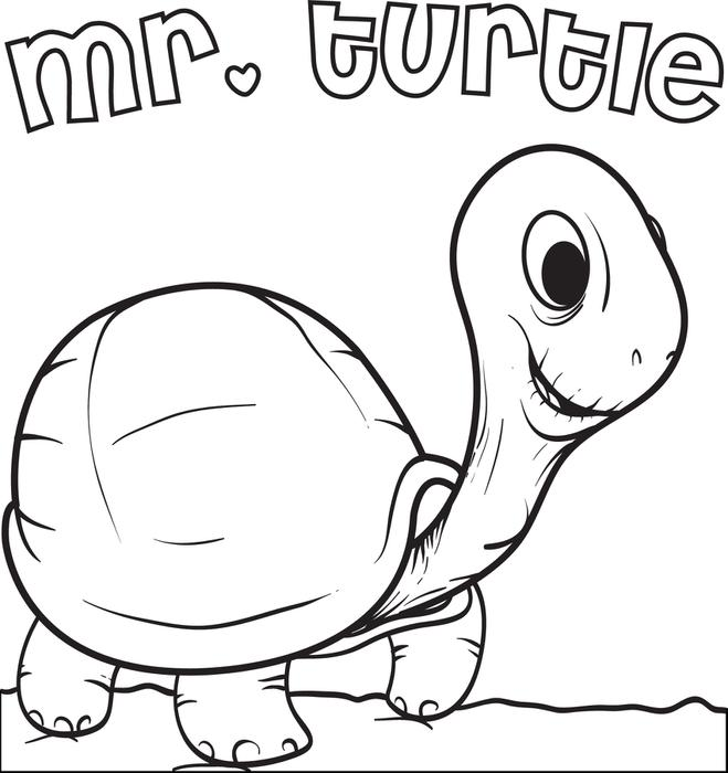 659x700 Free, Printable Mr. Turtle Coloring Page For Kids