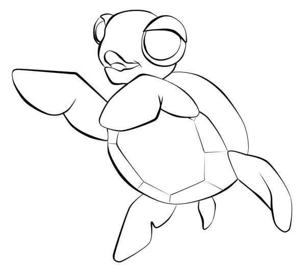 600x537 Baby Sea Turtle Sketch Line Art Free Coloring Page