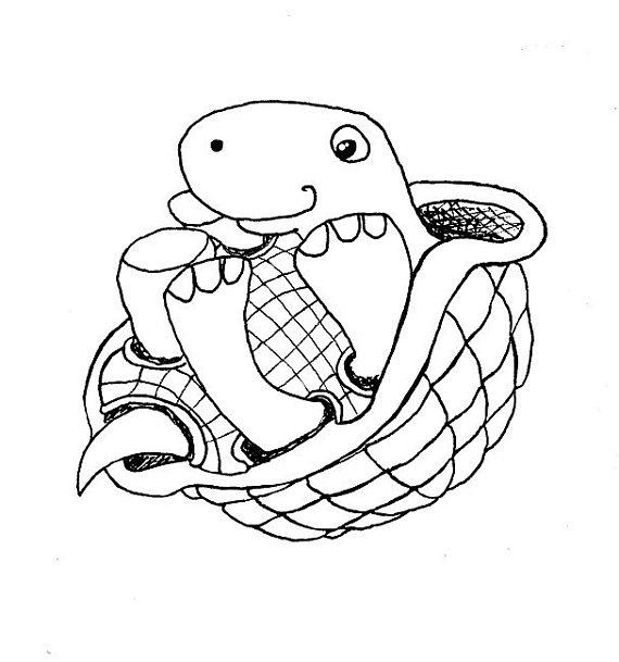 570x609 Happy Turtle On Back Ink Line Drawing Clip Art Digital