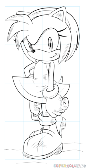 297x575 How To Draw Amy Rose The Hedgehog Step By Step Drawing Tutorials