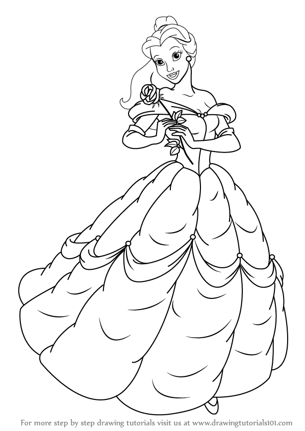 598x845 Learn How To Draw Belle From Beauty And Beast (Beauty And