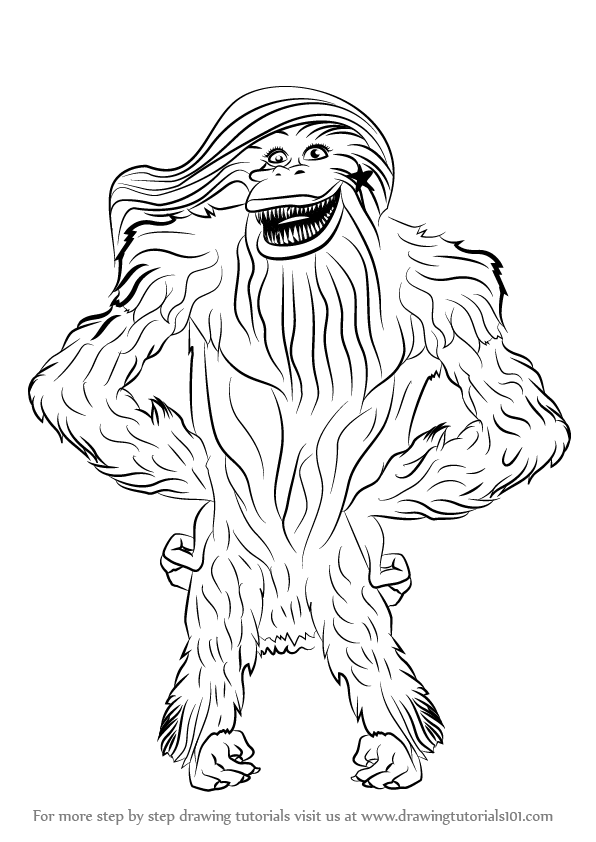 596x842 Learn How To Draw Female Kong From Ice Age (Ice Age) Step By Step
