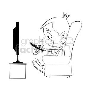 300x300 Royalty Free Small Boy Binge Watching Tv Cartoon Black White