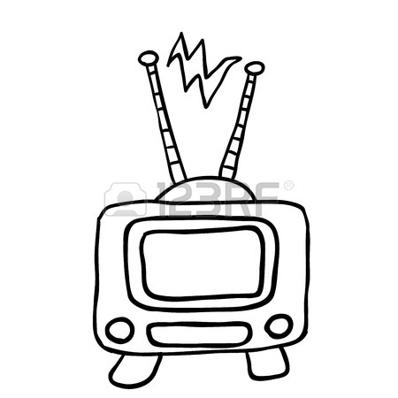 450x450 Simple Black And White Retro Tv Cartoon Royalty Free Cliparts