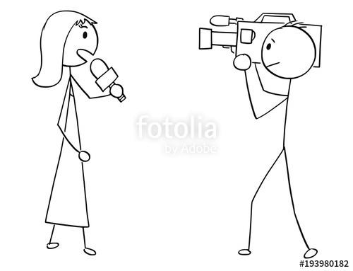 500x383 Cartoon Stick Man Drawing Illustration Of Tv Or Television News