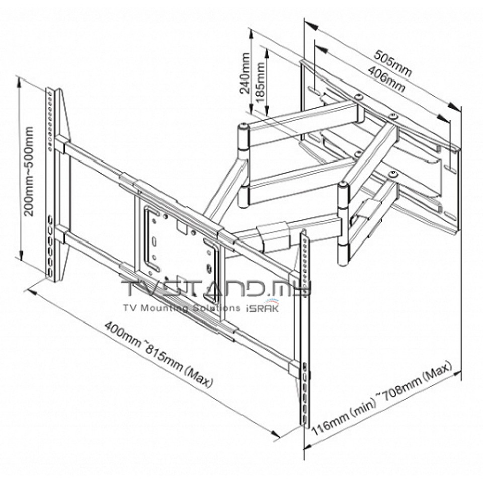960x960 Motion Wall Tv Bracket Cantilever Mount Upto 50