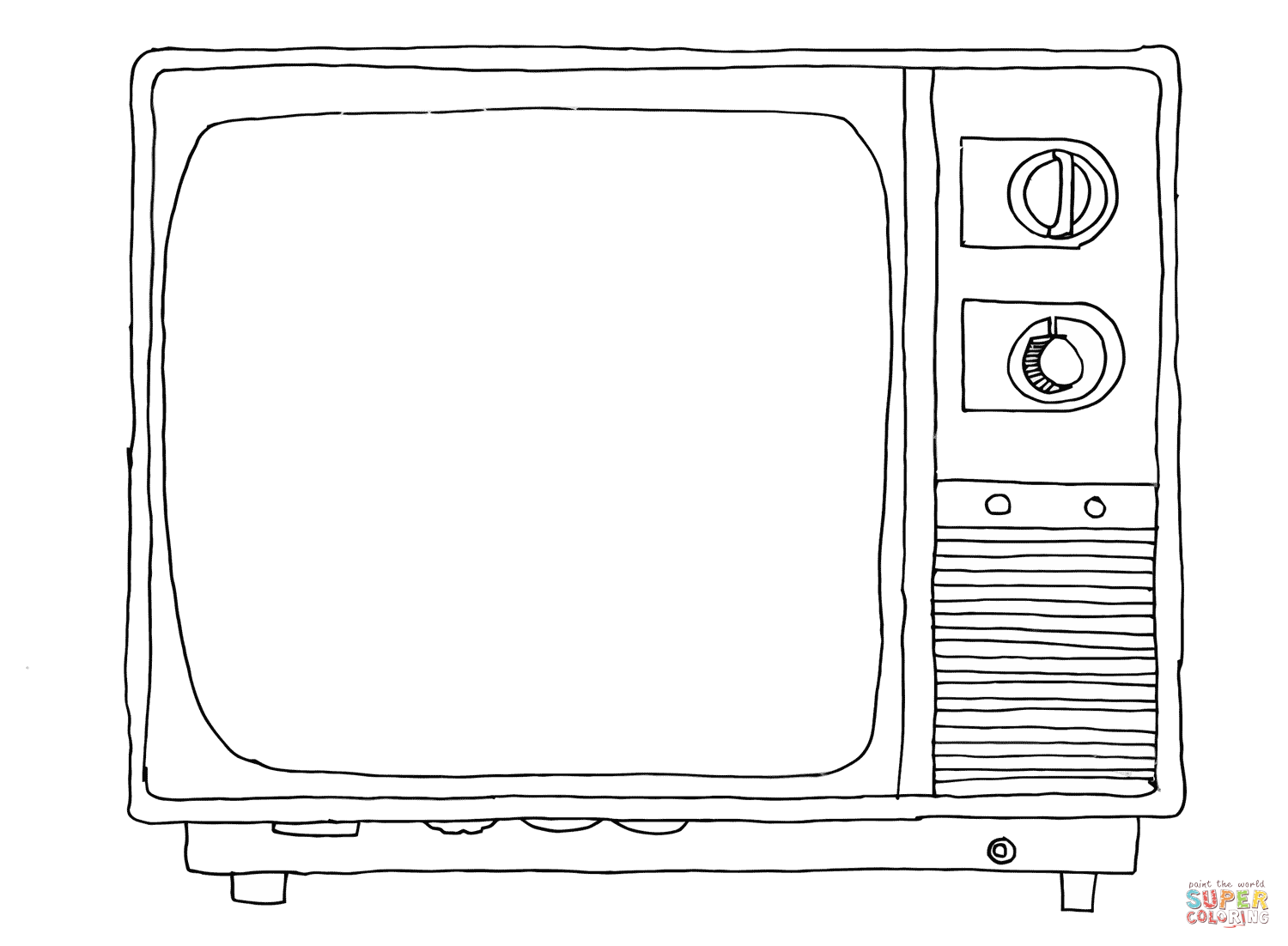 1500x1102 Old Sytle Tv Coloring Page Free Printable Coloring Pages